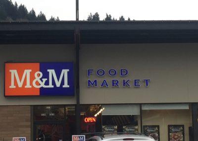 M&M Meats signage